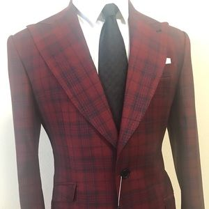 Other - Burgundy and blue plaid Ariston wool suit